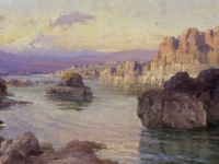 "John Fery (American, 1865–1934), Palisades of the Columbia River, c. 1910. Oil on board, 20"" x 39-1/2"". Gift of Washington Good Roads Association Maryhill Museum of Art, Goldendale, Washington."