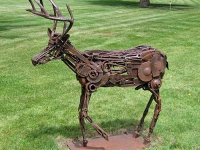 Joseph Warren (Portland, Ore.), Diana's Stag, 2007, steel tools, parts and found objects, 60