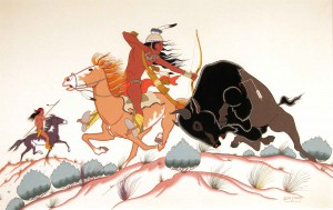 "Allan C. Houser (Chiricahua Apache, 1914–1994), Buffalo Hunt, 1952, gouache on illustration board, 17¼"" x 26½""; Arthur and Shifra Silberman Collection, National Cowboy & Western Heritage Museum, Oklahoma City, OK"