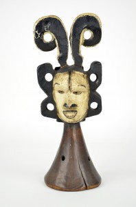 """Idoma (Nigeria), Idoma mask, 20th century, 15"""" x 6"""" x 6"""", carved and painted wood; Collection of Mary Johnston, Florence, OR"""