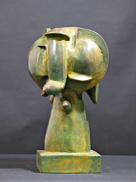 "James Lee Hansen (American, b. 1925), Naga Stand Head, 1971, bronze, 1971, 16¾"" x 9"" x 9"" x 9½""; Photo courtesy of the artist"