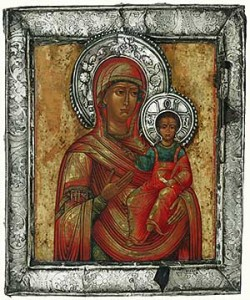 "Smolensk Mother of God, c. 1750 Egg tempera on wood with metal basma (possibly tin), 11½"" x 13½"". Museum of Russian Icons, Clinton, Mass."
