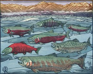 "West Coast Woodcut: Contemporary Relief Prints by Regional Artists July 13–November 15, 2019 06 Bill Reiswig (Olympia, WA), Seven Spawning Salmon Species Swimming Salish Seas, c. 2017, woodblock print, 8"" x 10"", Collection of Maryhill Museum of Art"