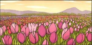 "07 Yoshiko Yamamoto (Tacoma, WA), Tulip Field—Morning, undated, block print, 6¾"" x 13¾""; Collection of Maryhill Museum of Art"