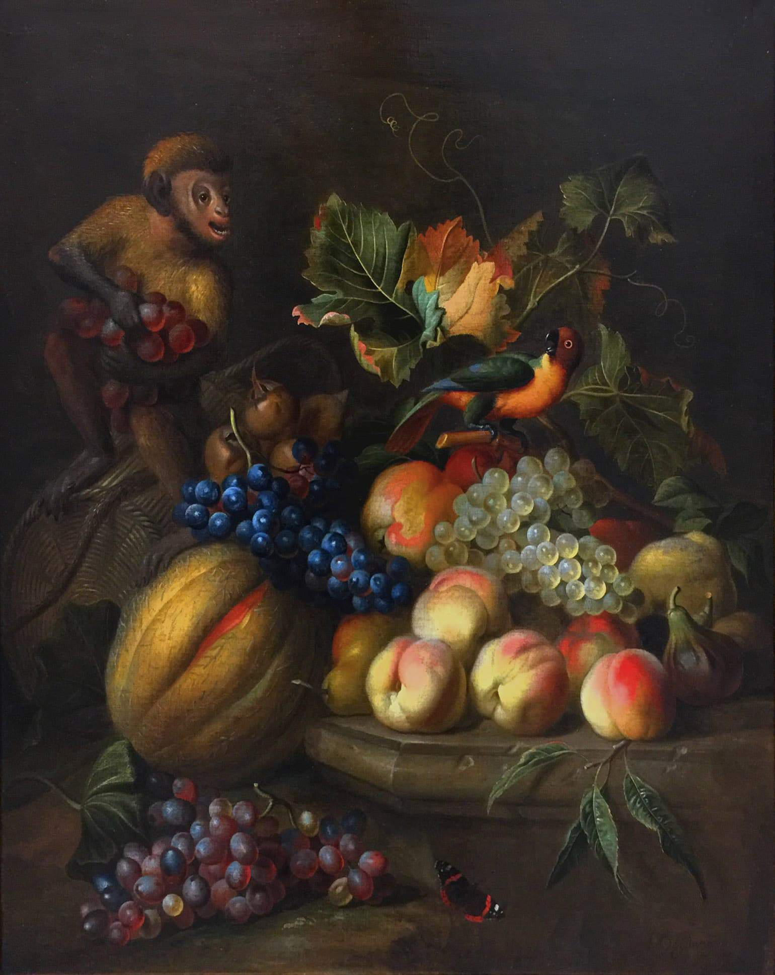 "Maryhill Favorites: Still Life March 15–November 15, 2019 10 Jakob Bogdani (British [b. Hungary], 1658–1724), The Thieving Monkey, c. 1710, oil on canvas, 30"" x 26""; Collection of Maryhill Museum of Art"