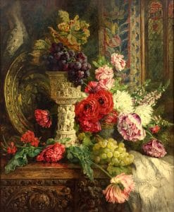 "11 Annie Feray Mutrie (British, 1826–1893), Antique Vase with Poppies and Fruit, 1865, oil on canvas, 30"" x 26""; Collection of Maryhill Museum of Art"