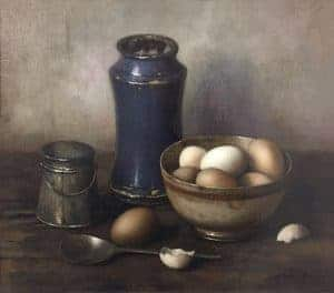 "12 Henrik ""Henk"" Bos (Dutch, 1901–1979), Eggs in Bowl and Blue Jar, c. 1960, oil on canvas, 14"" x 16""; Collection of Maryhill Museum of Art"
