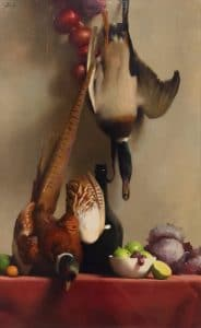 "13 Richard F. Lack (American, 1928–2009), Still Life: Duck and Pheasant, 1961, oil on canvas, 30"" x 19½"""