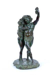 "16 Théodore Rivière (French, 1857–1912), Bacchus and Bacchante, c. 1900, bronze, 15⅛"" x 6½"" x 6½""; California Palace of the Legion of Honor, San Francisco"