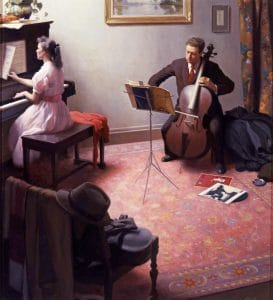 "19 Richard Lack (American, 1928–2009), The Concert, 1961, oil on canvas, 21½"" x 19½"" (framed); Collection of Maryhill Museum of Art"