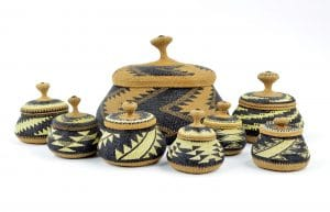 "22 Elizabeth Conrad Hickox (Wiyot/Karuk, 1875–1947), Lidded baskets, c. 1920s, largest: 6"" x 7¼""; Collection of Maryhill Museum of Art"